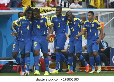 BRASILIA, BRAZIL - June 15, 2014: Ecuador players celebrate after Enner Valencia scores during the World Cup Group E game between Switzerland and Ecuador at Mane Garrincha Stadium. No Use in Brazil.