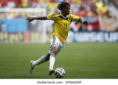 BRASILIA, BRAZIL - June 19, 2014: Cuadrado of Colombia during the game between Colombia and Ivory Coast at Estadio Nacional. No Use in Brazil.