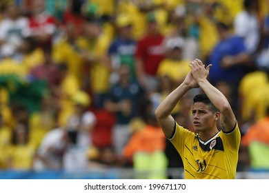 BRASILIA, BRAZIL - June 19, 2014: James Rodriguez of Colombia during the 2014 World Cup Group C game between Colombia and Ivory Coast at Estadio Nacional. No Use in Brazil.