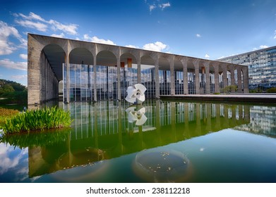 BRASILIA, BRAZIL - JUNE 22, 2014: Itamarati Palace is the headquarters of the Ministry of External Relations of Brazil and located at the capital of Brazil.