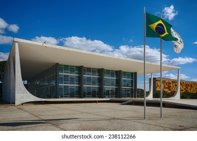 BRASILIA, BRAZIL - JUNE 22, 2014: Supreme Federal Court at the Three Powers Plaza located at the capital of Brazil.