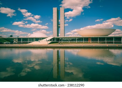 BRASILIA, BRAZIL - JUNE 22, 2014: National Congress at the Three Powers Plaza located at the capital of Brazil.