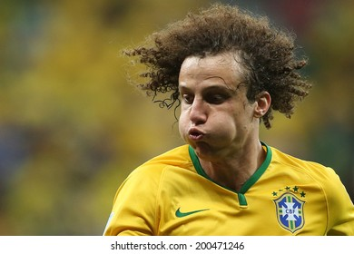 BRASILIA, BRAZIL - June 23, 2014: David Luiz of Brazil during the World Cup Group A game between Brazil and Cameroon at Estadio Nacional Mane Garrincha. No Use in Brazil.