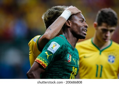 BRASILIA, BRAZIL - June 23, 2014: Cameroon player during the World Cup Group A game between Brazil and Cameroon at Estadio Nacional Mane Garrincha. No Use in Brazil.