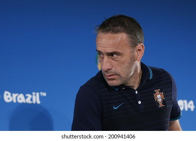 BRASILIA, BRAZIL - JUNE 25, 2014: Paulo Bento of Portugal during a press conference a day ahead of the World Cup Group G game between Portugal and Ghana in the National Stadium. NO USE IN BRAZIL.