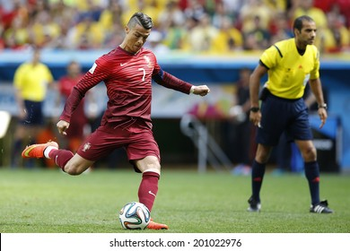 BRASILIA, BRAZIL - June 26, 2014: Cristiano Ronaldo of Portugal during the 2014 World Cup Group G game between Portugal and Ghana at Estadio Nacional Mane Garrincha. No Use in Brazil.