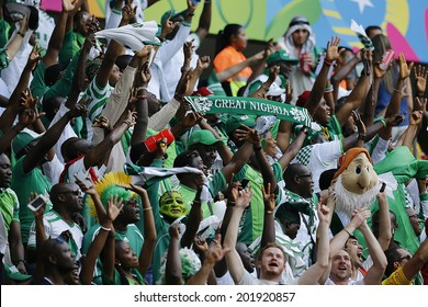 BRASILIA, BRAZIL - June 30, 2014: Supporters of Nigeria team on the World Cup 2014 Round of 16 game between France and Nigeria at Estadio Nacional Mane Garrincha in Brazil. No Use in Brazil.