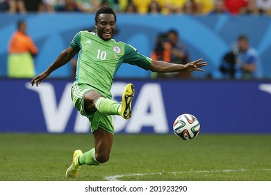 BRASILIA, BRAZIL - June 30, 2014: John Obi Mikel on the World Cup 2014 Round of 16 game between France and Nigeria at Estadio Nacional Mane Garrincha in Brazil. No Use in Brazil.