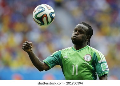 BRASILIA, BRAZIL - June 30, 2014: Moses of Nigeria during the World Cup Round of 16 game between France and Nigeria at Estadio Nacional Mane Garrincha. NO USE IN BRAZIL.