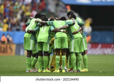 BRASILIA, BRAZIL - June 30, 2014: Nigeria team huddle at the 2014 World Cup Round of 16 game between France and Nigeria at Mane Garrincha Stadium.
