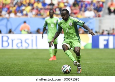 Brasilia, Brazil - June 30, 2014: Victor MOSES on the World Cup 2014 Round of 16 game between France and Nigeria at Estadio Nacional Mane Garrincha in Brazil.