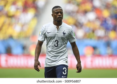 Brasilia, Brazil - June 30, 2014: Patrice EVRA of France on the World Cup 2014 Round of 16 game between France and Nigeria at Estadio Nacional Mane Garrincha in Brazil.