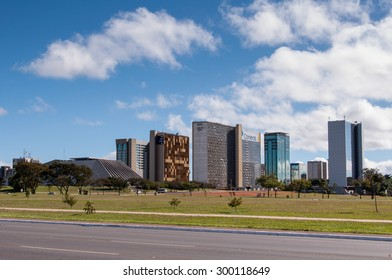 BRASILIA, BRAZIL - JUNE 7, 2015: Skyline of Brasilia. The entire city was planned by architects Lucio Costa and Oscar Niemeyer and is a an example of a modern urban planning.