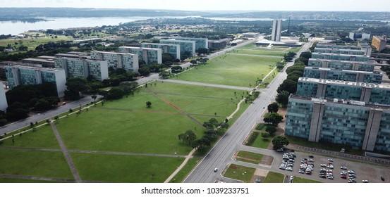 BRASILIA, BRAZIL, MARCH, 04, 2018, Esplanada dos Ministerios, Aerial View