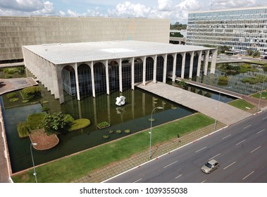 BRASILIA, BRAZIL, MARCH, 04, 2018 Itamaraty Palace with Sculpture Meteor by Bruno Giorgi, Aerial View