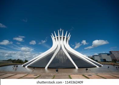 Brasilia, Brazil - May 17 2013: Church and Cathedral of Brasilia made it by Oscar Niemeyer