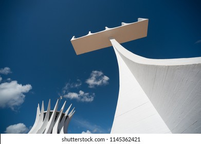 Brasilia, Brazil - May 17 2013: Bell tower, Church and Cathedral of Brasilia made it by Oscar Niemeyer