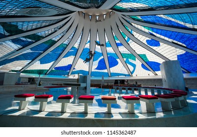 Brasilia, Brazil - May 17 2013: Inside the Church and Cathedral of Brasilia made it by Oscar Niemeyer. Interior view.