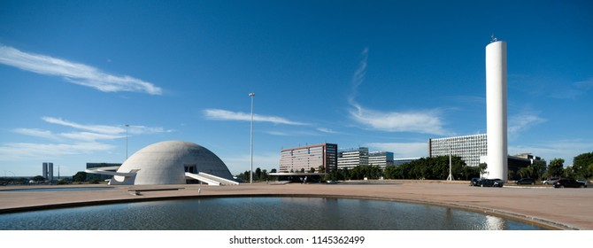 Brasilia, Brazil - May 17 2013: Futuristic construction in Brasilia, capital of Brazil by Arquitect Oscar Niemeyer. Panoramic view of the Museum of the republic and lake.