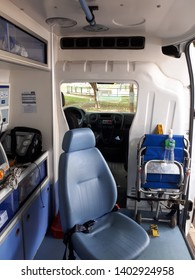 Brasilia, Brazil, May 29, 2019: UTI, mobile ambulance, internal part with high-tech equipment for first aid, mobile service, pre-hospital urgencies, life support.
