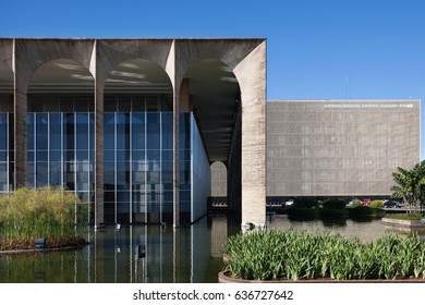 BRASILIA, BRAZIL- November 15, 2016: Ministry of Justice building, designed by the famous Brazilian architect Oscar Niemeyer, in Brasilia, capital of Brazil.