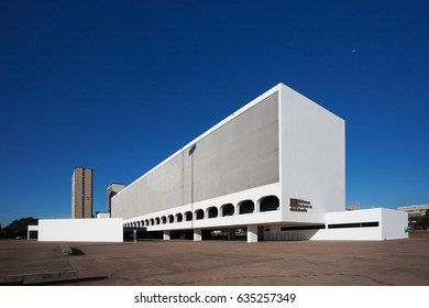 BRASILIA, BRAZIL - NOVEMBER 15, 2017: New Cultural Complex of a Republic - the National Library of Brasilia, with financial buildings behind.