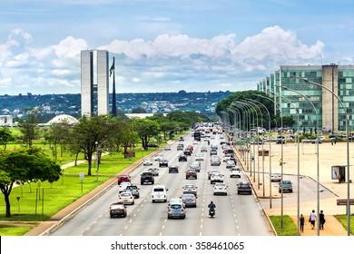 Brasilia, Brazil - November 17: View of traffic on busy street next to Brazilian National Congress (Congresso Nacional) building in Brasilia, capital of Brazil.
