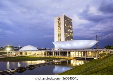 Brasilia, Brazil - November 19: View of Brazilian National Congress (Congresso Nacional) in Brasilia, capital of Brazil.