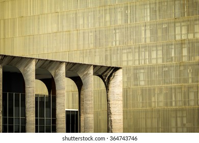 Brasilia, Brazil - November 20, 2015: Urban geometry, architectural detail of Itamaraty Palace in Brasilia, capital of Brazil.