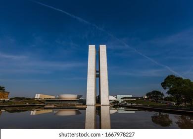 Brasilia, Brazil - October 03, 2012: Brazilian National Congress, designed by Oscar Niemeyer, on a sunny day.