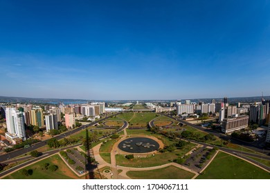 Brasilia, Brazil - October 29, 2012: View of the Esplanada dos Ministérios, in Brasília, from the lookout point of the tv tower.