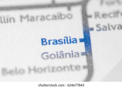 Brasilia, Brazil on a geographical map.