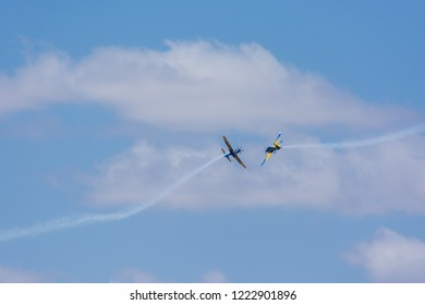 Brasilia Brazil. Photo taken during the presentation of the Smoke Squadron on September 7, 2018. On the image is an Embraer EMB-314 Super Tucano (T29) Airplane.