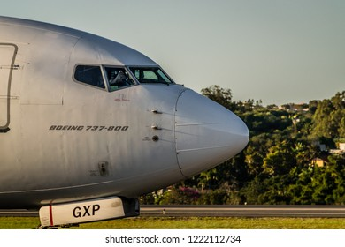 Brasilia Brazil. Photograph made on May 27, 2017 at the Brasilia International Airport. Boeing aircraft of GOL Linhas Aéreas. In the image shows the front side of the plane.