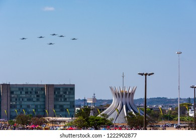 Brasilia Brazil. September 2018. Air Parade with Embraer Super Tucano A29 aircraft of the Brazilian Air Force in celebration of the Independence of Brazil.