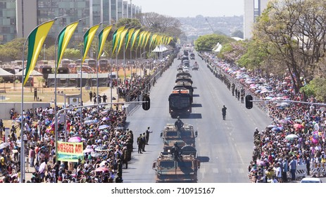 Brasilia Brazil. September 7, 2017. Civic and military parade of September 7. Independence Day of Brazil. In the image appears military vehicles crossing the Esplanade of the Ministries.