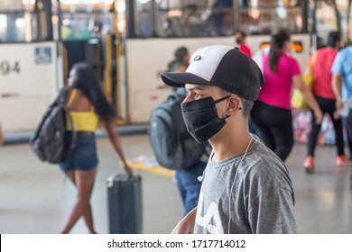 Brasilia, Brazil-April 28, 2020: Young man at the Downtown Bus Station wearing a protective mask