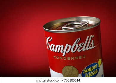 Brasilia, DF / Brazil - 08/30/2008: Close-Up of a Sealed Campbell's Soup Can on Red Background