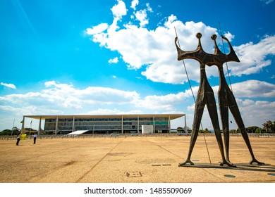 Brasilia, DF, Brazil - Ago, 22, 2019: A beautiful view of Candango Monument (Monumento aos Candangos).