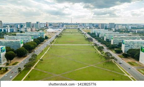Brasilia, DF, Brazil - Jun, 1, 2019: Aerial view of Ministries Esplanade in the city.