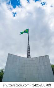 Brasilia, DF, Brazil - Jun, 15, 2019: A view of Brazilian Flag in the city.