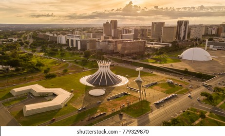 Brasilia, DF, Brazil. November, 20, 2017.Catedral and museum buildings during sunset.