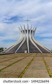 Brasilia, DF, Brazil - Sep, 1, 2019: A beautiful view of metropolitan cathedral in the city.