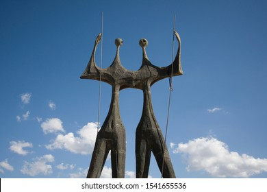 "Brasilia, Distrito Federal, Brazil - May 03, 2016: Bronze sculpture ""Os Candangos"" (The Warriors), by Bruno Giorgi, a memorial to the workers who built Brasilia"
