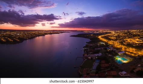 Brasilia during sunrise showing Lago Paranoa, Asa Norte and Lago Norte. Brasilia, Brazil.