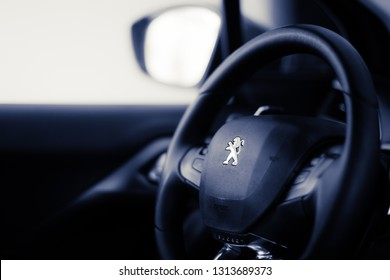 Brasilia, Federal District - Brazil. Feb, 14, 2019. Interior of a peugeot 208 1.6 Aut. Griffe 2014 vehicle.
