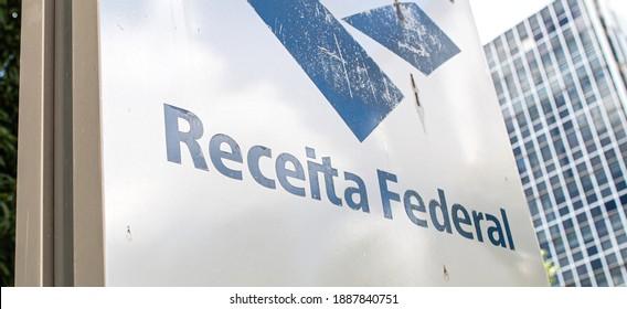 Brasilia, Federal District - Brazil. January, 03, 2021. Information board of Brazilian Federal Revenue ( in portuguese: Receita Federal do Brasil - RFB ).