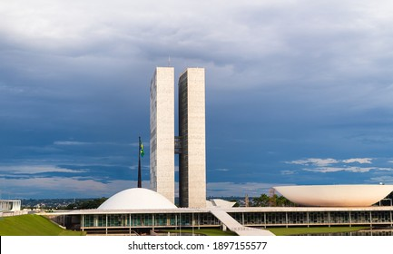 Brasilia, Federal District - Brazil. January, 17, 2021. The National Congress of Brazil. Building designed by Oscar niemeyer. It is composed in the Chamber of Deputies and the Federal Senate.