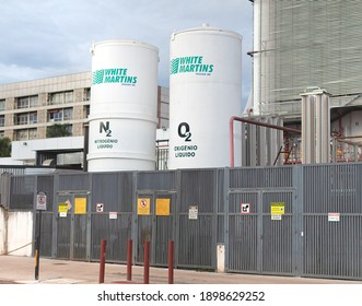 Brasilia, Federal District - Brazil. January, 17, 2021. Nitrogen and oxygen reservoirs from the White Martins company outside a hospital in the city of brasilia.