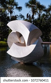 Brasilia, Federal District / Brazil - June 17, 2012: 'The Meteor' Sculpture by Bruno Giorgi, at Itamaraty Palace - Ministry of Foreign Relations, representing the five continents.